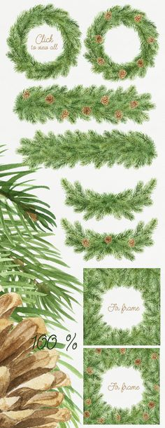 Coniferous Watercolor Set by NataliVA on Creative Market