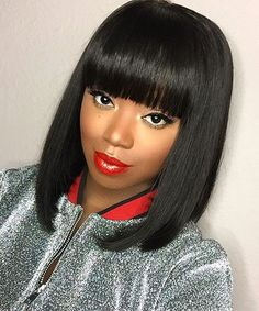 100% Human Hair Quality With Reasonable Price Oval Face Hairstyles, Black Women Hairstyles, Wig Hairstyles, Straight Hairstyles, Spring Hairstyles, Hairstyles 2018, Bob Hairstyle, Short Bob Wigs, Short Bob Haircuts