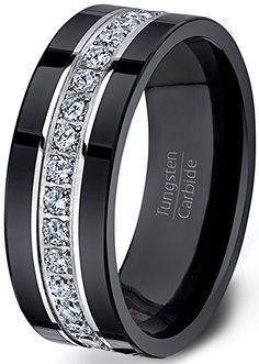 Mens Wedding Band Black Tungsten Ring Fully Stacked With Cz Diamonds Comfort Fit