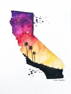 Original California State Map Watercolor by NiksPaintGallery California Sunset, California Tattoos, Map Painting, Map Art, State Art, Watercolor Paintings, Watercolor Paper, Watercolors, Portrait