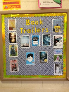 Book Trailer bulletin board. QR Code for the book trailer on the book cover for students to scan and view.