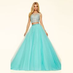 Paparazzi by Mori Lee - 98101 The fabric in this style is 2 Piece Crystal Beaded Tulle Ball Gown with Zipper Back Closure coming in aqua, bubble and white Quinceanera Dresses, Homecoming Dresses, Prom Gowns, Dress Prom, Evening Party Gowns, Evening Dresses, Dressy Dresses, Cute Dresses, Frack