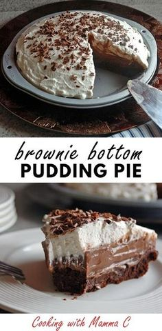 Youll love this Homemade Chocolate Pudding Pie with Brownie Crust! Its one of the best desserts ever! Youll love this Homemade Chocolate Pudding Pie with Brownie Crust! Its one of the best desserts ever! Mini Desserts, Easy Desserts, Delicious Desserts, Yummy Food, Plated Desserts, Quick Simple Desserts, Homeade Desserts, Romantic Desserts, Dinner Party Desserts