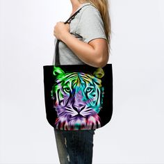 """Grab this awesome """"Colorful Tiger Head"""" design now, and show it off to your family and friends. Tiger Art, Tiger Head, Custom Bags, Canvas Tote Bags, Colorful, Hoodies, Friends, Awesome, Design"""