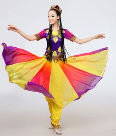 big swing Xinjiang Uighur Ethnic Dance solo stage performance minority dance costumes Chinese folk dance wear Uighur clothing #Affiliate