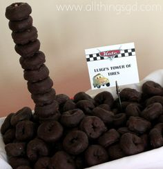 Luigi's Tower of Tires: Kate's Cars-Themed Birthday Party