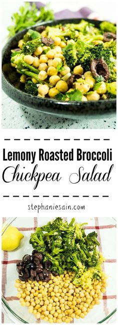 Lemony Roasted Broccoli Chickpea Salad is the perfect make ahead salad and goes great with any meal or perfect for lunch. Bursting with roasted broccoli, garlic, and lemony flavors making it a flavorful salad for any occasion. Vegan & Gluten Free.