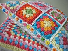 Colourful granny crochet stool cover and cushion