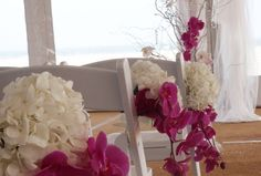 hydrangea and orchid poofs for cermony