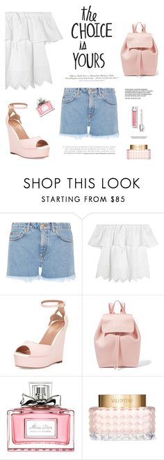 """HappyDay"" by dorachelariu ❤ liked on Polyvore featuring M.i.h Jeans, H&M, Madewell, RED Valentino, Mansur Gavriel, Christian Dior, Valentino and platforms"