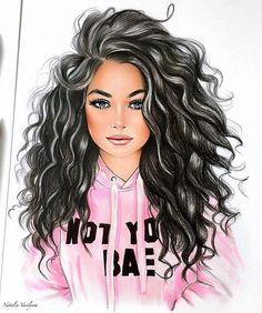 Black Girl Art, Black Women Art, Black Art, Girly Drawings, Art Drawings Sketches, Sarra Art, Girly M, Cute Girl Drawing, Beautiful Girl Drawing