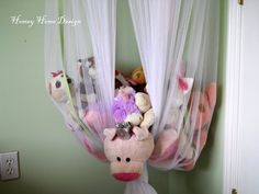 homey home design: McKinleys Room {Tales of a little girls space}, – Monkey Stuffed Animal Soft Toy Storage, Creative Toy Storage, Toy Storage Solutions, Kids Storage, Storage Ideas, Stuffed Animal Displays, Storing Stuffed Animals, Stuffed Animal Storage, Home Design