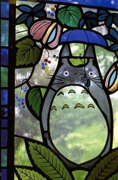 Totoro Stained Glass... Awesome idea for faux stained glass painting project!