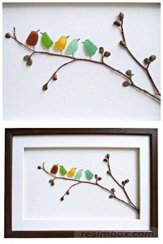 Sea glass birds on twig tree branch with pebble leaves framed art. - Crafty Ideas - Sea glass birds on twig tree branch with pebble leaves framed art. Sea Glass Crafts, Sea Glass Art, Seashell Crafts, Beach Crafts, Stained Glass Art, Sea Glass Beach, Fused Glass, Sea Glass Decor, Glass Wall Art