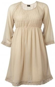 $75 Vestido replace - romántico, escote redondo, mangas 3/4