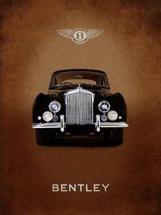Bentley Continental 1952 Print By Mark Rogan Bentley Motors, Bentley Car, Retro Cars, Vintage Cars, Antique Cars, Nascar, Chevy, Volkswagen Golf Mk2, Sports Car Wallpaper