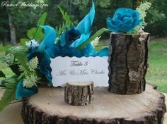 rustic blue wedding place card holders table number holders