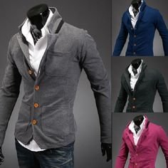 Men's Fashion Casual Solid Color Stand Collar Suit