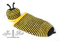 Handmade Knit Bumble Bee Hat and Cocoon Set for Newborn Babies  This Bumble Bee Hat and Cocoon set is hand knitted out of soft acrylic baby yarn, just perfect for babies!  Includes Hat and cocoon.    COLOR: Yellow + Black  SIZE: Newborn    $ 45.00 CAD