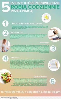 5 rzeczy, które zdrowi ludzie robią codziennie przed pr… na Stylowi.pl Health Quiz, Health Diet, Health Fitness, Healthy Habits, Healthy Life, Dieet Plan, Herbalife, Simple Living, Happy Life