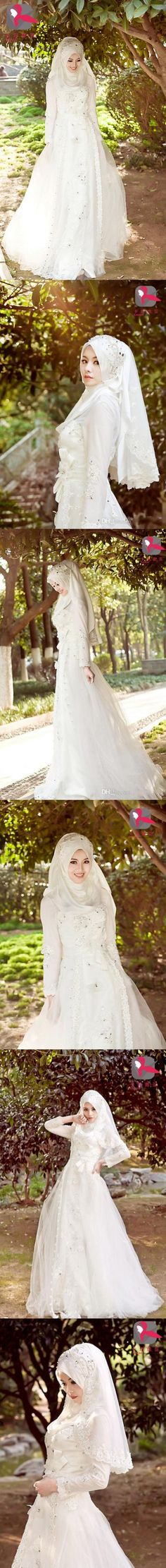 Muslim Wedding Dresses 2016 Vintage Bridal Gowns A Line Lace Appliques Beading Crystals Bow Tie Sash Long Sleeves Arabian Gowns $286