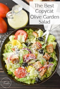 Copycat Olive Garden Soup, Olive Garden Salad, Olive Garden Recipes, Olive Salad, Olive Garden Dressing, Healthy Side Dishes, Side Dish Recipes, Lunch Recipes, Healthy Recipes