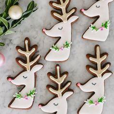 One of my favourite things to make is sugar cookies and it has been for years. Reindeer Cookies, Christmas Sugar Cookies, Christmas Sweets, Noel Christmas, Pink Christmas, Christmas Goodies, Holiday Cookies, Galletas Cookies, Cute Cookies