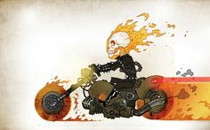 skulls minimalistic fire ghost rider hell skeletons roads motorbikes 2037x1080 wallpaper