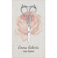 Hair Stylist Vintage Scissors and Pale Pink Rose Beauty Salon Business Cards