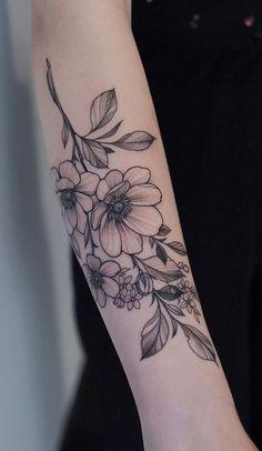 Tatoo Flowers, Pretty Flower Tattoos, Beautiful Tattoos, Top Forearm Tattoos, Body Art Tattoos, Cool Tattoos, Female Arm Tattoos, Tatoos, Floral Arm Tattoo