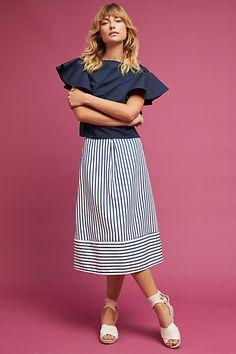 Della Bee Freeport Striped Midi Skirt