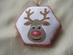 Rudolf cross stitch ornament