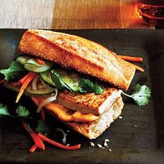 The bread and Vietnamese filling—carrot and radish, cilantro, mayonnaise, and cucumber—are traditional in this vegetarian take on this classic Vietnamese sandwich.  Prepare mayonnaise mixture and toast bread while the tofu and vegetable mixture marinate.