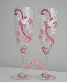 Wedding glasses Doves/ Love birds champagne by ToujourGlamour