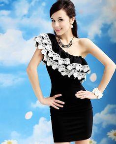 Morpheus Boutique  - Black Trendy White Lace One Shoulder Pencil Dress , $89.99 (http://www.morpheusboutique.com/black-trendy-white-lace-one-shoulder-pencil-dress/)