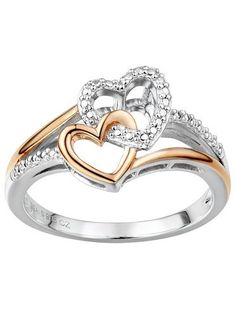 Two Hearts Forever One Diamond Accent Sterling Silver Two Tone Double Heart Ring #LoveKohls