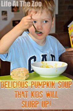Delicious Pumpkin Soup that gets kids slurping... via www.lifeatthezoo.com