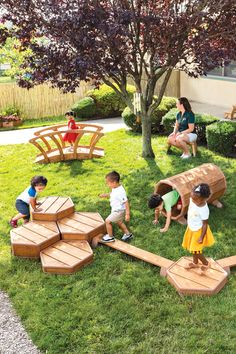 The stable, yet portable units of the Toddler Activity Set allow the teacher to reconfigure the yard meeting the changing needs of children and providing endless opportunity for active exploration. Outdoor Learning Spaces, Kids Outdoor Play, Outdoor Activities For Kids, Kids Play Area, Backyard For Kids, Backyard Projects, Outdoor Fun, Toddler Activities, Toddler Playground