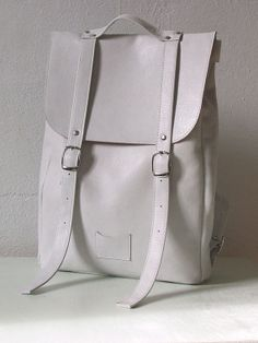 White+middle+size+leather+backpack+rucksack+/+To+order+by+kokosina,+$159.00