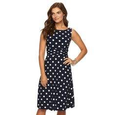 Women's Chaps Polka-Dot Ruched Dress