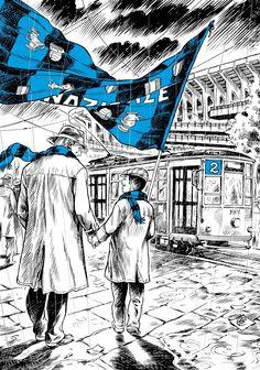 """Oggi è una bellissima giornata. Sono riuscito a dare un buongiorno importante a colei che amo più di tutto ed inoltre, questa sera, farò ritorno al Meazza. Sì non come in passato in cui per anni ho frequentato i balordi della Nord, ma in comodo posto da """"signori"""" con il mio trottolino amoroso. Debutto per lui a S.Siro. Di padre in figlio ⚫🔵 💙 ❤️ 💛 Milan Football, Football Art, Vintage Football, Inter Sport, Alexis Sanchez, Ultras Football, Eric Cantona, Antonio Conte, Cartoon Tattoos"""