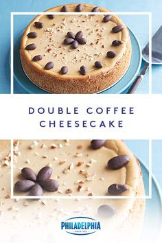 When you need a dessert pick-me-up, this Double Coffee Cheesecake is just the thing. No Bake Desserts, Just Desserts, Delicious Desserts, Dessert Recipes, Food Cakes, Cupcake Cakes, Cupcakes, Coffee Cheesecake, Cheesecake Recipes