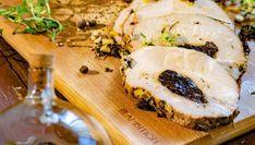 Soczysty schab ze śliwką - Ambition na Smaker.pl Camembert Cheese, Sushi, Meat, Chicken, Ethnic Recipes, Food, Essen, Meals, Yemek