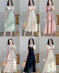 Korean Fashion Dress, Kpop Fashion Outfits, Girly Outfits, Classy Outfits, Skirt Fashion, Dress Outfits, Fashion Dresses, Beautiful Casual Dresses, Cute Dresses
