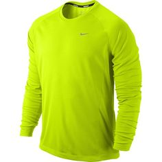 NIKE Mens Miler UV Long Sleeve Running Top, Fluo Yellow, L