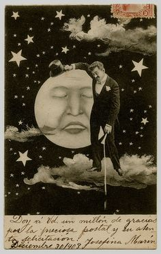 Paper Moon--Postcard, Gentleman with Top Hat Standing on a Cloud, Leaning on the Full Moon, handwriting in Spanish, dated 1903
