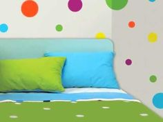 15 pastel bedroom decoration ideas that you will want to copy Wall Stickers Polka Dots, Girls Wall Stickers, Kids Wall Decals, Polka Dot Room, Polka Dot Walls, Wall Murals Bedroom, Bedroom Decor, Bedroom Ideas, Blue Wall Colors