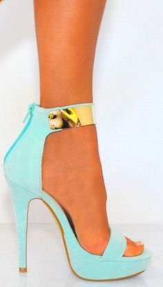 Mint Green Zipper High Heels