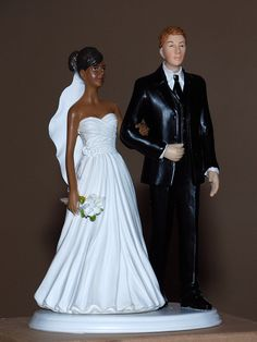 African American Black Bride White Groom Interracial Wedding Cake Topper