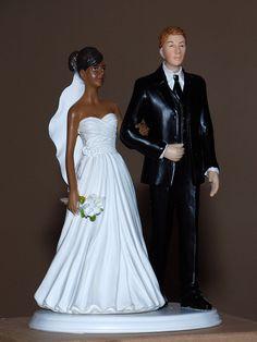 African American Black Bride White Groom Interracial Wedding Cake Topper   eBay